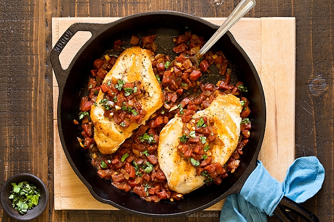 Balsamic Tomato Skillet Chicken - dinner for two ready in under an hour