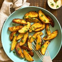 Pan Fried Potato Wedges (Small Batch)