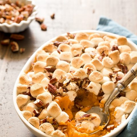 Hosting Thanksgiving For Two this year? You can still serve up your favorite traditional side dishes, like Sweet Potato Casserole For Two with mini marshmallows and chopped pecans on top. Plus learn the difference between sweet potatoes and yams.