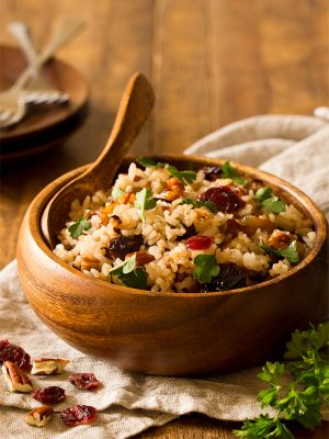 Pecan Cranberry Rice Pilaf with Caramelized Onions