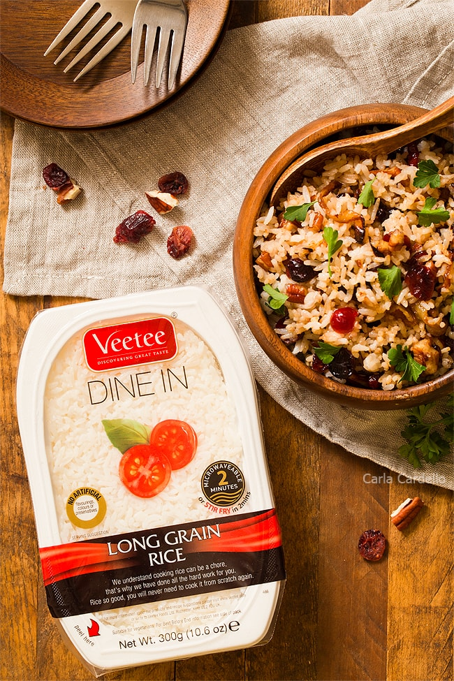 Pecan Cranberry Rice Pilaf with Caramelized Onions made using Veetee Rice
