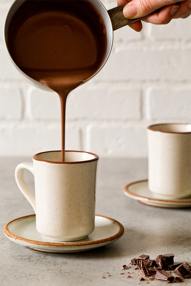 Pouring chocolate for Thick Hot Chocolate For One