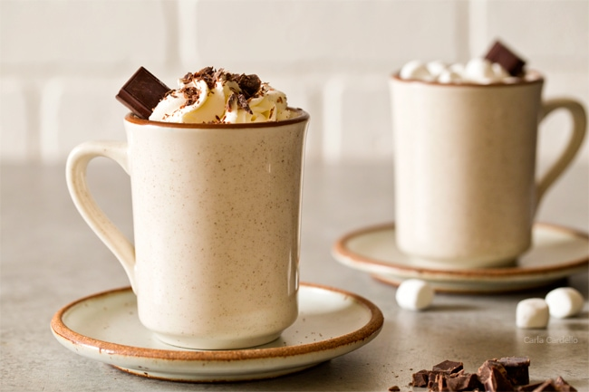 Thick Hot Chocolate Recipe For One made with melting chocolate and not cocoa powder. Recipe can easily be doubled to serve two people.