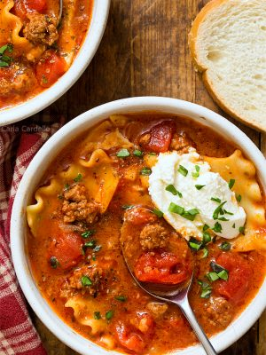 One Pot Lasagna Soup For Two