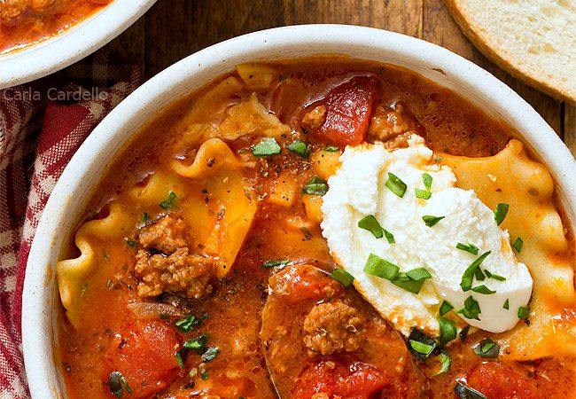 In the mood for lasagna but don't have time to assemble one? Luckily for you this One Pot Lasagna Soup For Two is ready in under an hour! Made with canned tomatoes so you can make it all year round.