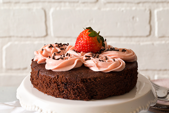 One Layer Chocolate Cake For Two with Strawberry Cream Cheese Frosting