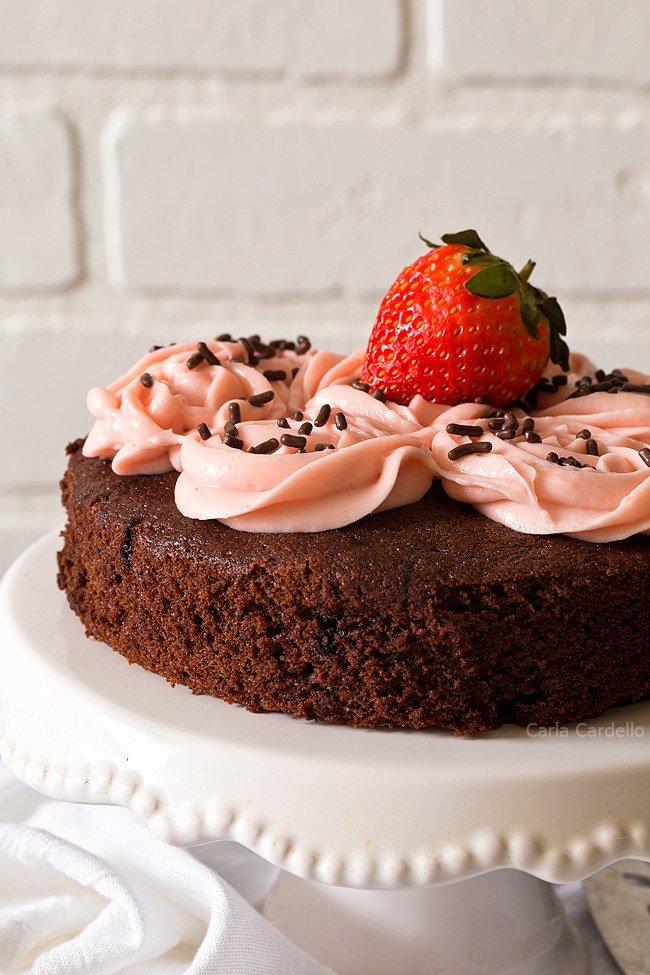 Homemade Small Chocolate Cake For Two is a moist and delicious one layer chocolate cake you can make from scratch without a cake mix.