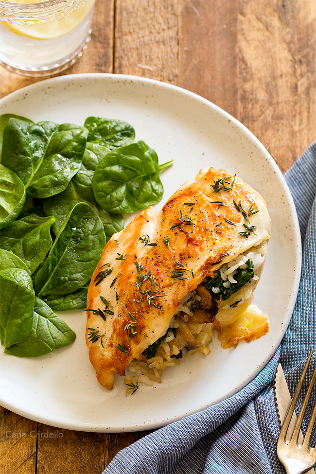 Stuffed Chicken Breast with rice, cheese, mushrooms, and spinach