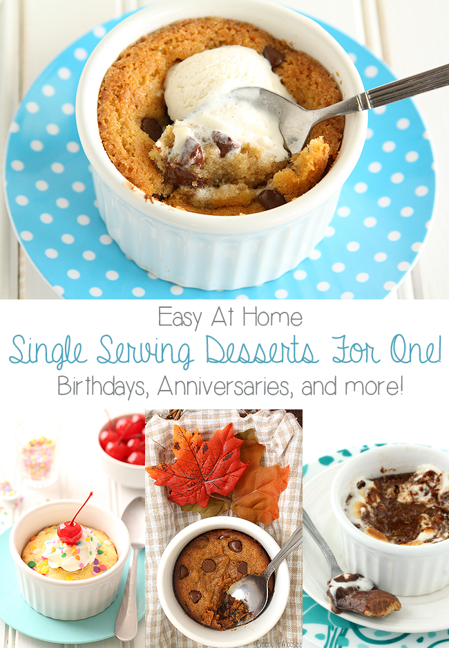 When you're craving something sweet but don't want leftover dessert, make one (or all) of these Easy Single Serving Desserts For One! Ranging from cookies to brownies to pie, bake them up for Valentine's Day, birthdays, anniversaries, and more.