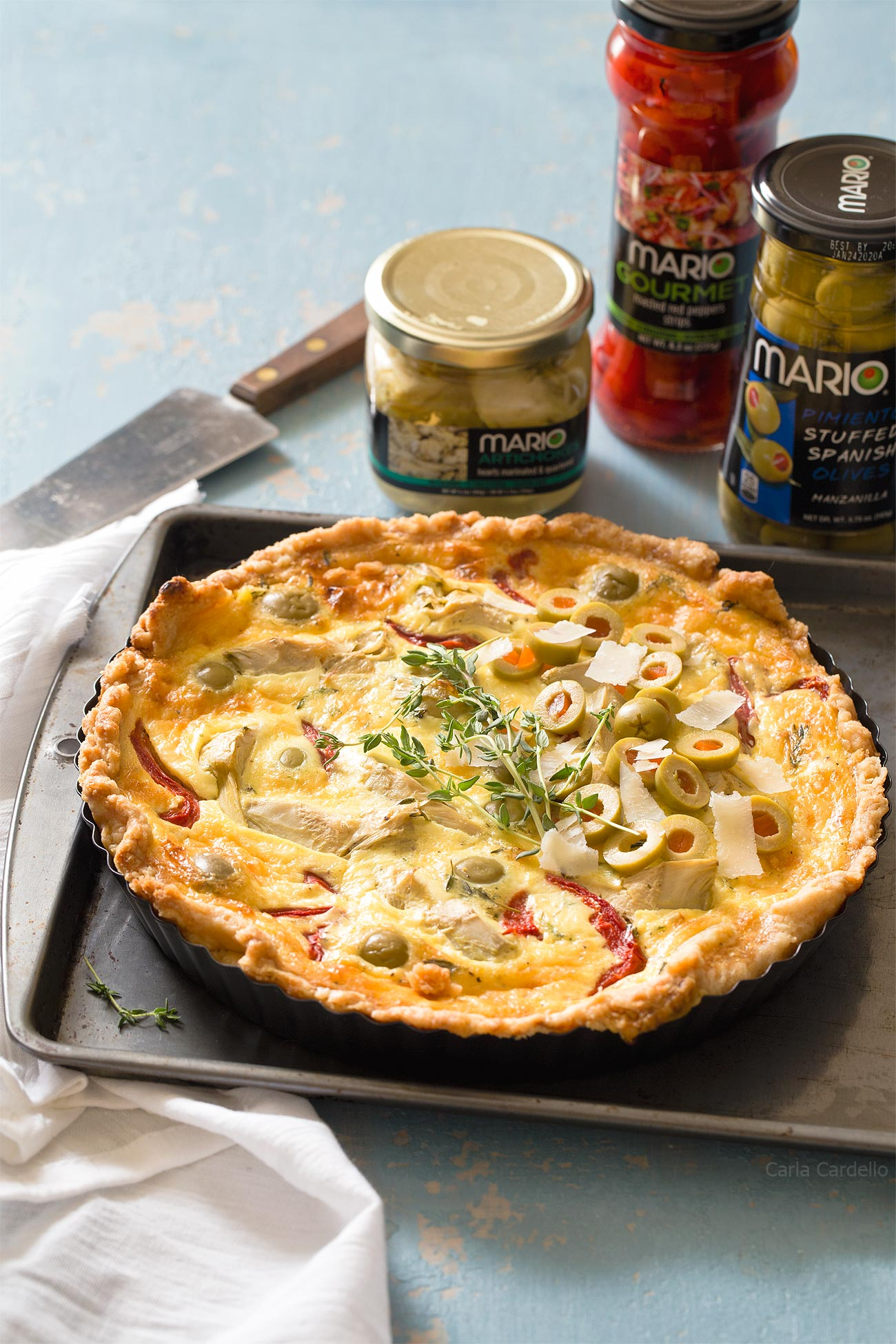 Artichoke Olive Quiche with Mario Olive products