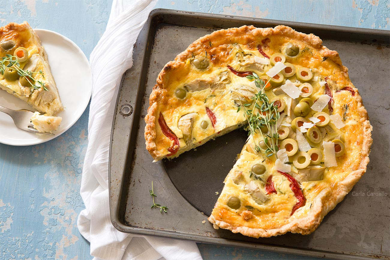 Artichoke Olive Quiche for make ahead brunch recipe for Easter
