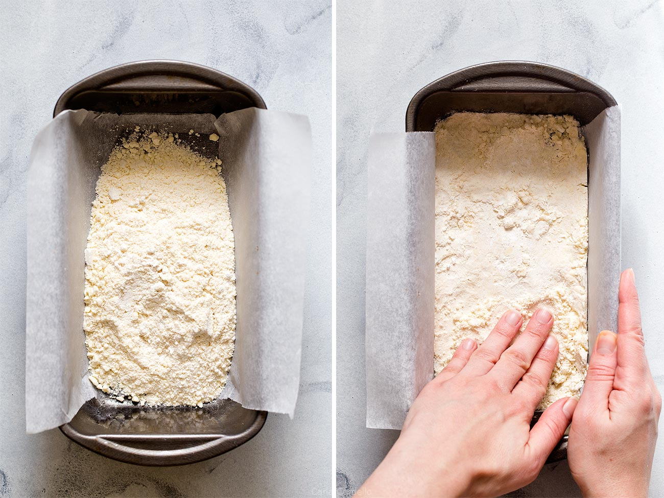 Patting dough into loaf pan for Small Batch Lemon Bars
