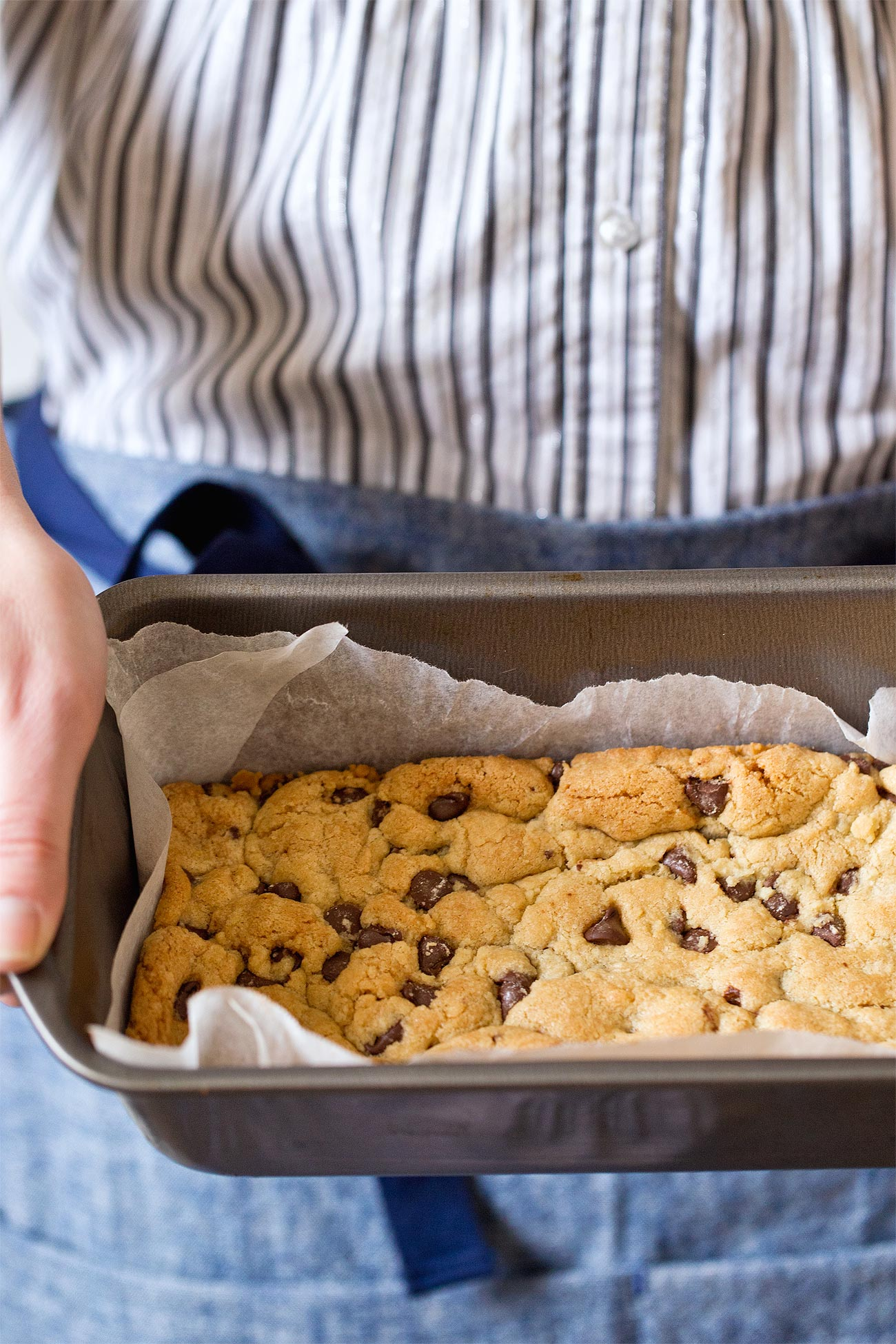 Small Batch Chocolate Chip Cookie Bars made in a loaf pan