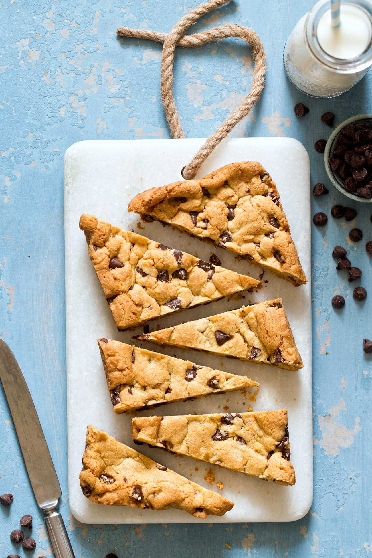 Small Batch Chocolate Chip Cookies cut into bars