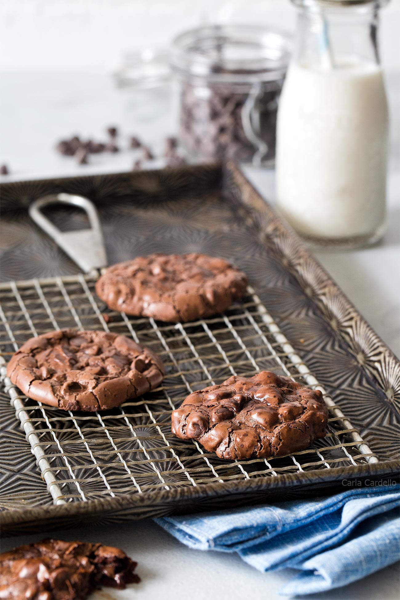 Fudgy and Chewy Small Batch Flourless Chocolate Cookies made with leftover egg white