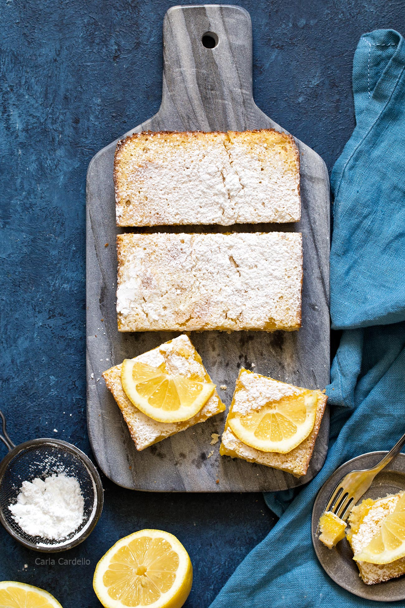 Small Batch Lemon Bars baked in a loaf pan