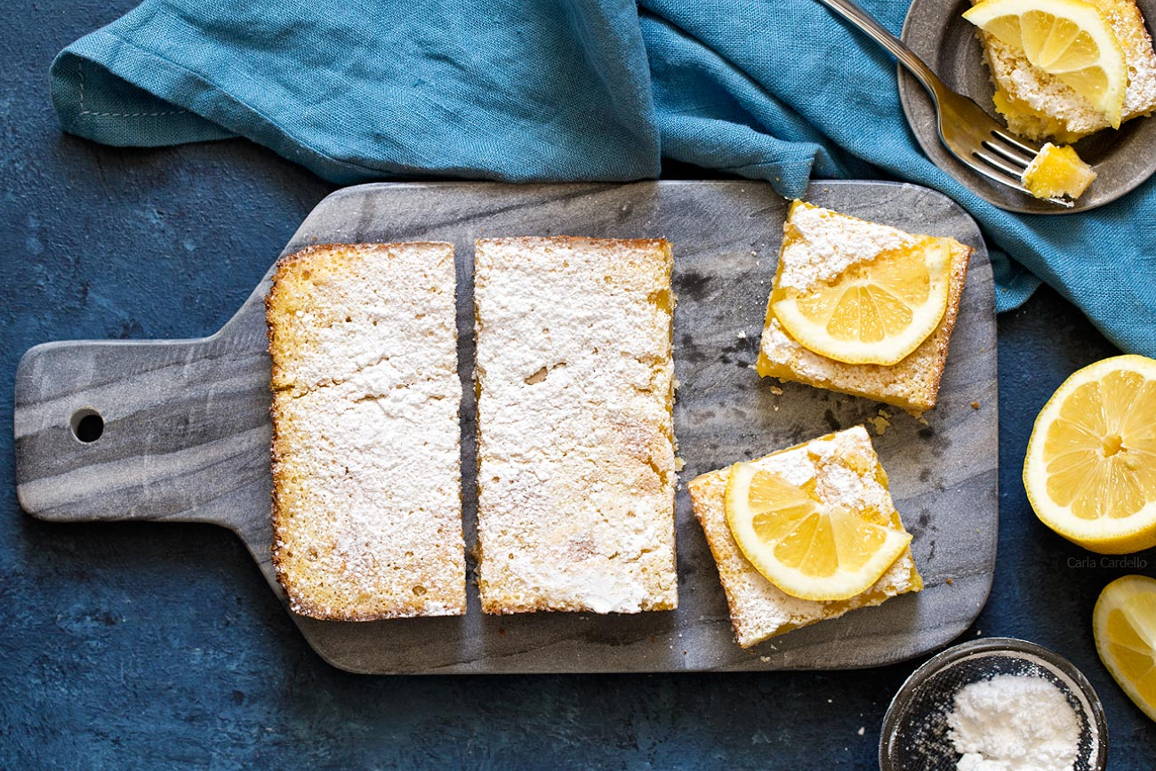 Small Batch Lemon Bars baked in loaf pan