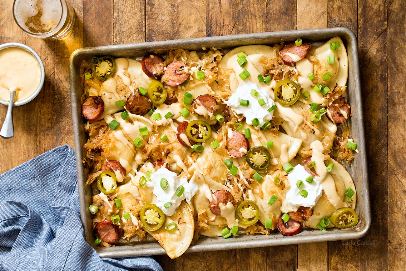 Pittsburgh Pierogy Nachos with fried pierogies instead of chips