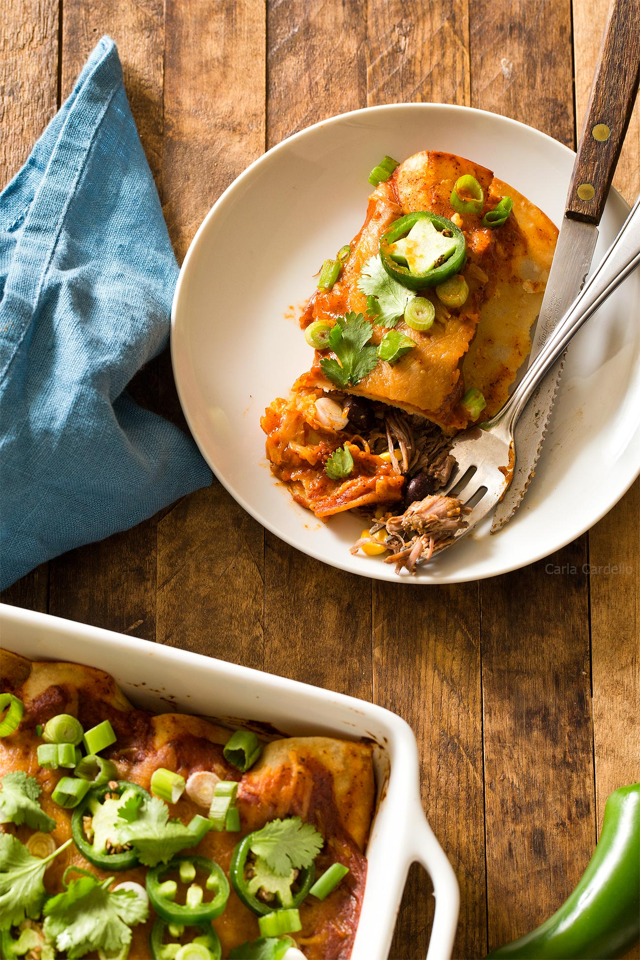 Slow Cooker Beef Enchiladas For Two with homemade enchilada sauce