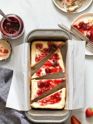 Small Batch Strawberry Swirl Cheesecake Bars