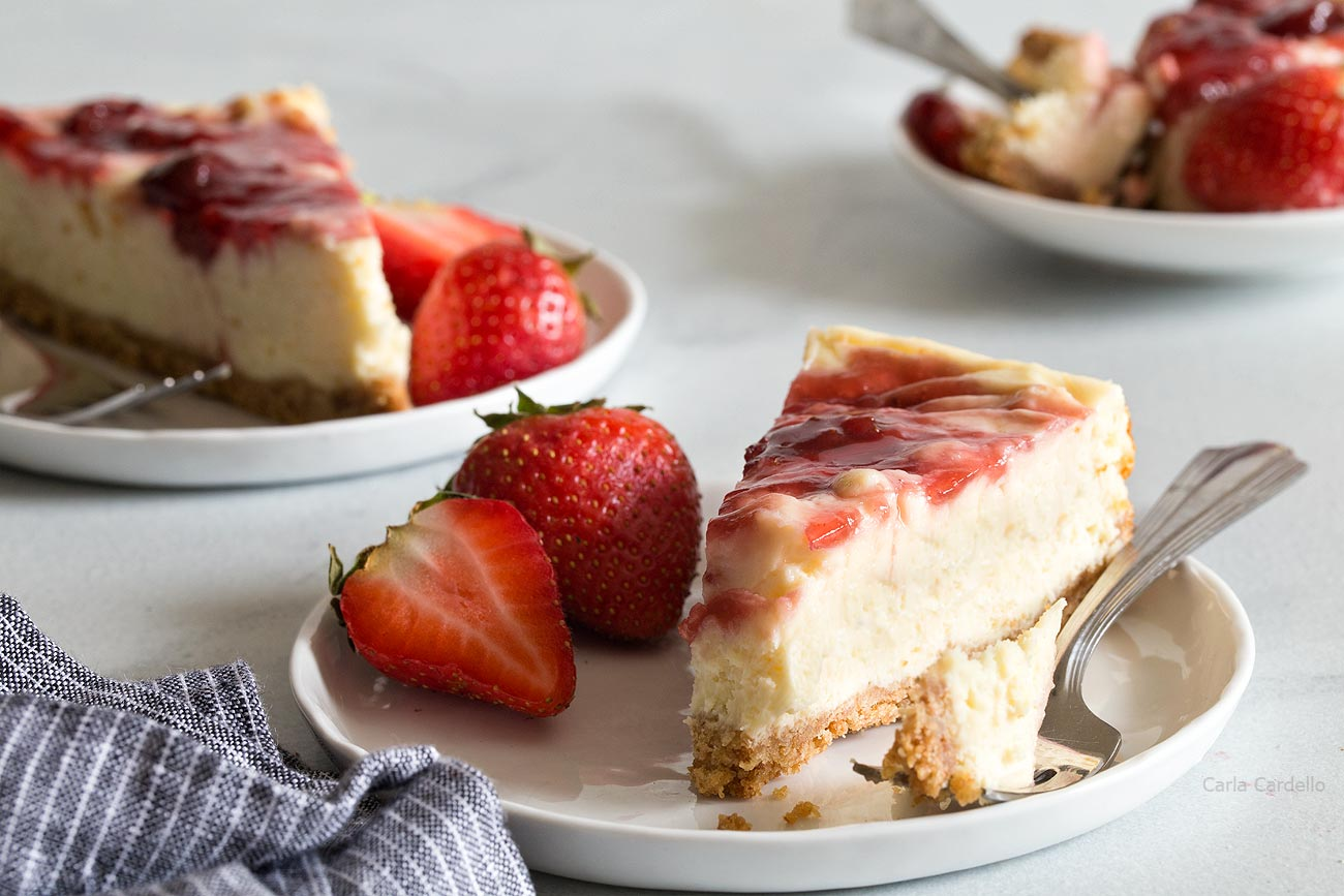 Slices of Small Batch Strawberry Swirl Cheesecake Bars