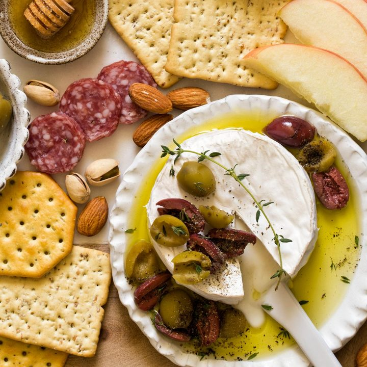 Olive Baked Brie With Thyme and Olive Oil