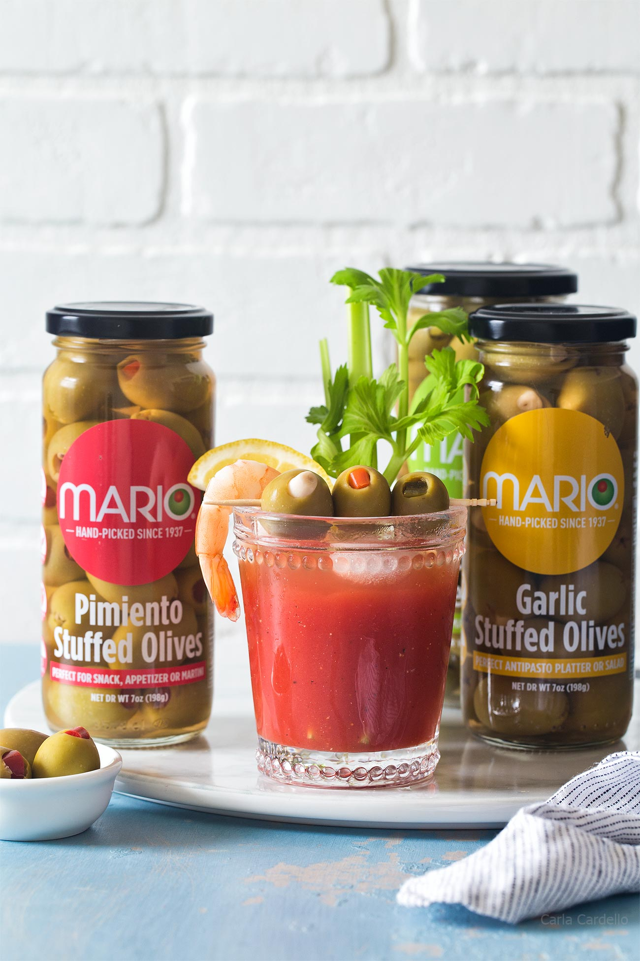 Small Batch Bloody Mary made with olive juice and stuffed olives