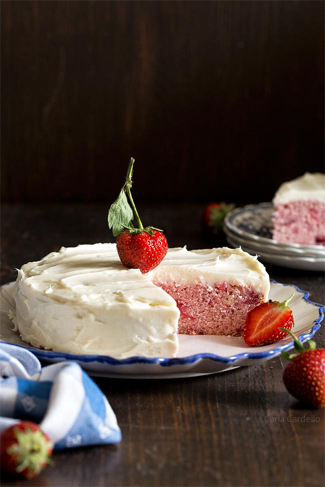 Small 6 Inch Strawberry Cake Made From Scratch Using Fresh Strawberries No Cake Mix And