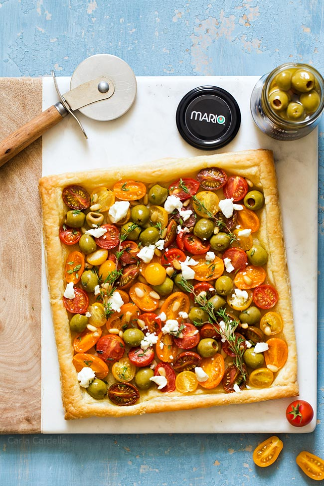 Olive Tomato Puff Pastry Tart made with Mario Olives