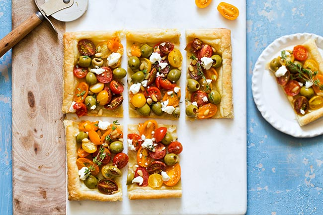 Olive Tomato Puff Pastry Tart as a summer appetizer