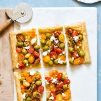 Olive Tomato Puff Pastry Tart