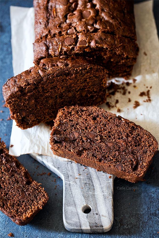 Chocolate Zucchini Bread recipe makes one 9x5 loaf