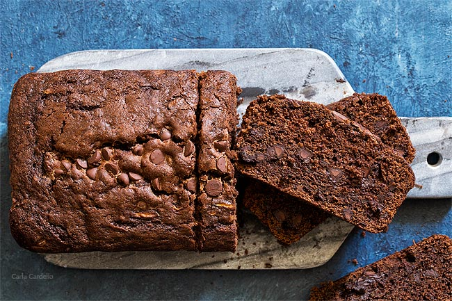 9x5 Chocolate Zucchini Bread made with melted butter