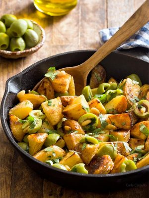 Pan Fried Potatoes With Olives (Small Batch)