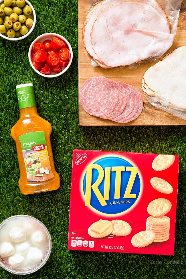 Antipasto Football Cracker Stacks with RITZ Crackers