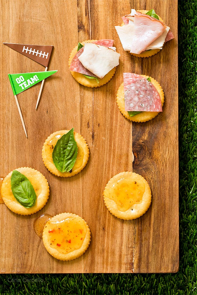 Assembling Antipasto Football Cracker Stacks