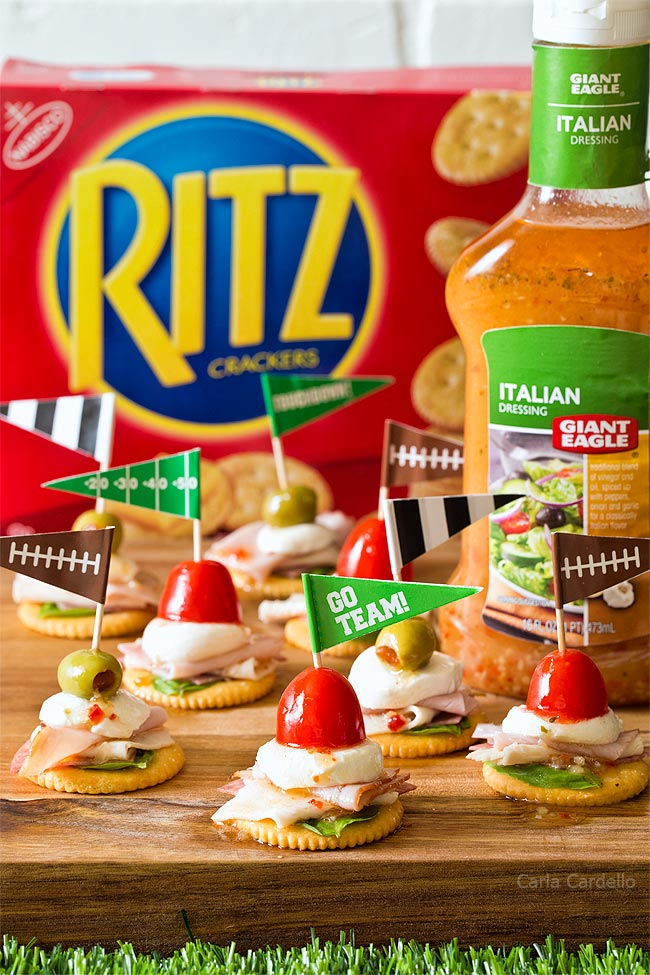 Antipasto Football Cracker Stacks made with RITZ Crackers and Italian dressing