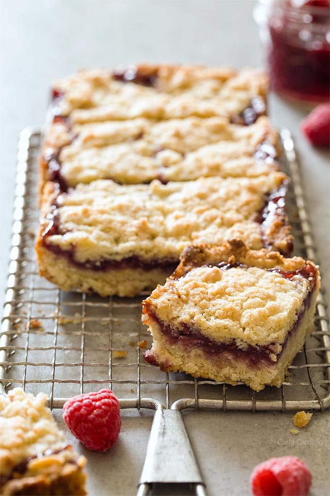 Small Batch Raspberry Crumb Bars with raspberry jam