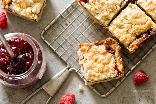 Small Batch Raspberry Crumb Bars with buttery crust and raspberry jam