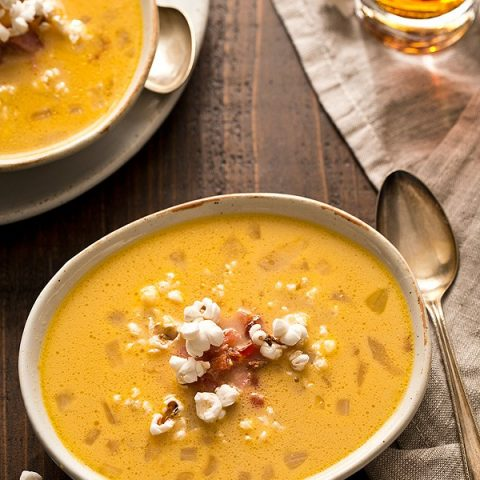 Bacon Beer Cheese Soup with Popcorn