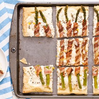 Bacon Wrapped Asparagus Puff Pastry Tart
