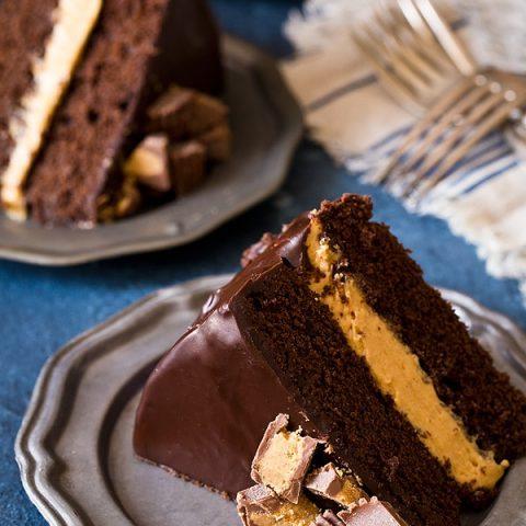Buckeye Layer Cake (Chocolate and Peanut Butter Fudge Cake)