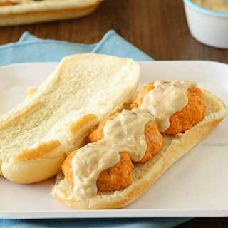 Buffalo Chicken Meatball Subs with Garlic Blue Cheese Sauce