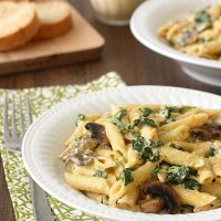 Butternut Squash Alfredo with Pasta, Spinach, and Mushrooms