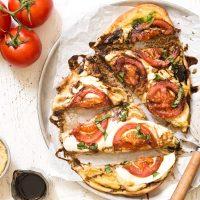 Caprese Hummus Flatbread Pizza