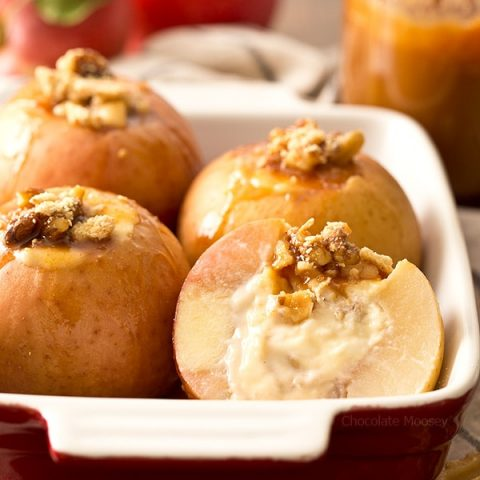 Caramel Cheesecake Stuffed Apples