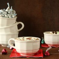 Cherry Cordial and Mint Truffle Kiss Hot Chocolate with Marshmallow Whipped Cream