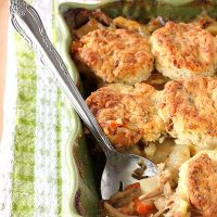 Chicken Pot Pie Casserole With Bacon Cheddar Biscuits