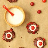 Chocolate Cherry M&M Thumbprint Cookies