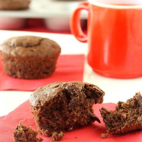Chocolate-Chocolate Chip Cherry Muffin